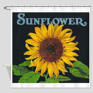 Sunflower Vintage Art Poster Shower Curtain