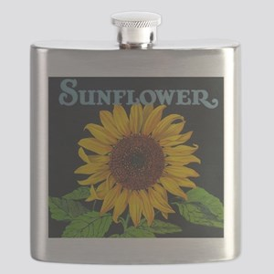 Sunflower Vintage Art Poster Flask