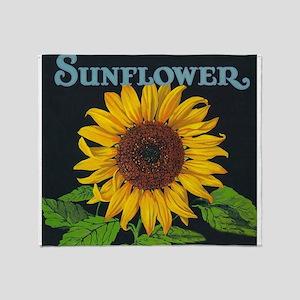 Sunflower Vintage Art Poster Throw Blanket
