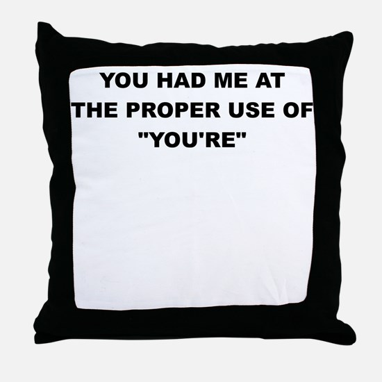 YOU HAD ME AT THE PROPER USE OF YOURE Throw Pillow