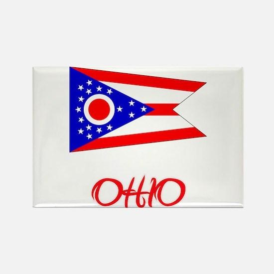 Ohio Flag Artistic Red Design Magnets