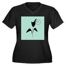 Black Tulip Women's Plus Size V-Neck Dark T-Shirt