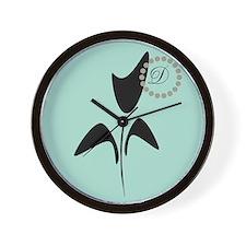 Black Tulip Mint Wall Clock