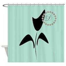 Black Tulip Mint Shower Curtain