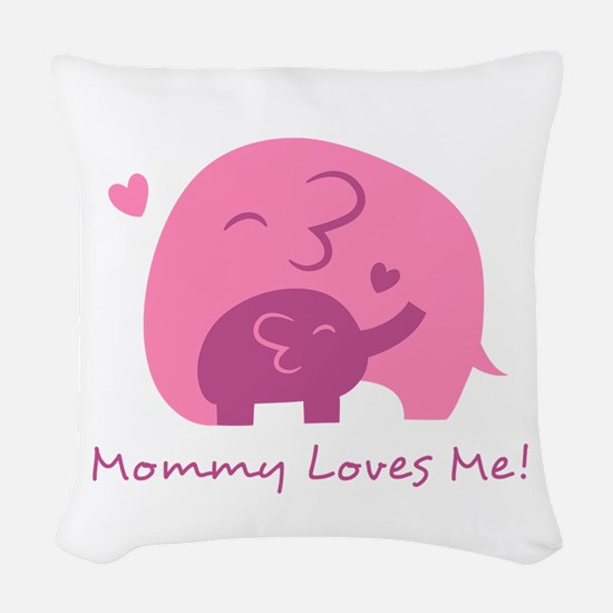 Mommy Loves Me, Cute Elephant and Baby Woven Throw