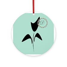 Black Tulip Mint Round Ornament