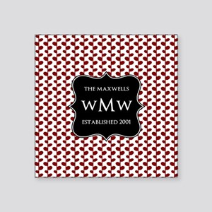 "Red and White Leaves Black Square Sticker 3"" x 3"""