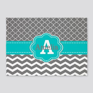 Gray Teal Quatrefoil Chevron Personalized 5'x7'Are