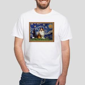 Starry Night & Sable Sheltie White T-Shirt