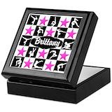 Girls gymnastics Square Keepsake Boxes