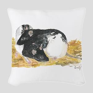 Rats cuddling Woven Throw Pillow
