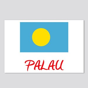 Palau Flag Artistic Red D Postcards (Package of 8)