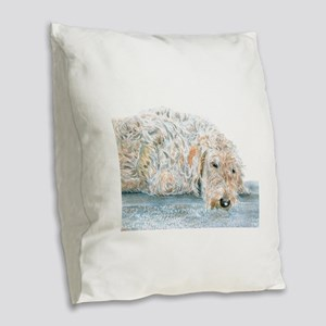 Sleepy Labradoodle Burlap Throw Pillow