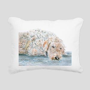 Sleepy Labradoodle Rectangular Canvas Pillow