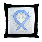 Periwinkle Ribbon Angel Throw Pillow
