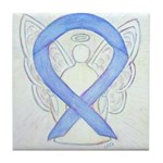 Periwinkle Ribbon Angel Tile Coaster