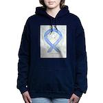 Periwinkle Ribbon Angel Women's Hooded Sweatshirt