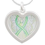 Lime Ribbon Angel Necklaces