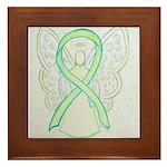 Lime Ribbon Angel Framed Tile