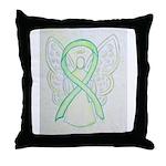 Lime Ribbon Angel Throw Pillow