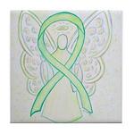 Lime Ribbon Angel Tile Coaster