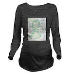 Lime Ribbon Angel Long Sleeve Maternity T-Shirt
