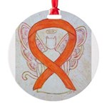 Orange Cat Ribbon Angel Ornament