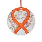 Orange Cat Ribbon Angel Ornament (Round)