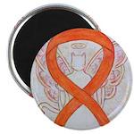 Orange Cat Ribbon Angel Magnets