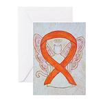 Orange Cat Ribbon Angel Greeting Cards
