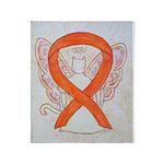 Orange Cat Ribbon Angel Throw Blanket