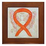 Orange Cat Ribbon Angel Framed Tile