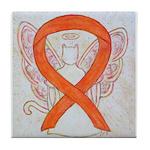 Orange Cat Ribbon Angel Tile Coaster
