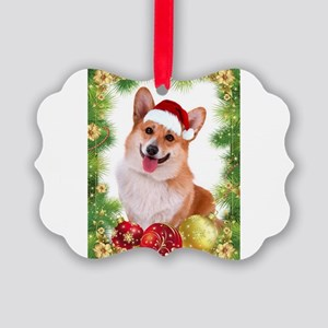Smiling Corgi with Santa Hat Ornament
