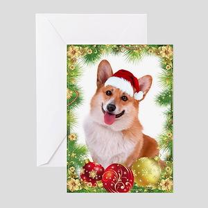 Smiling Corgi With Santa Hat Greeting Cards
