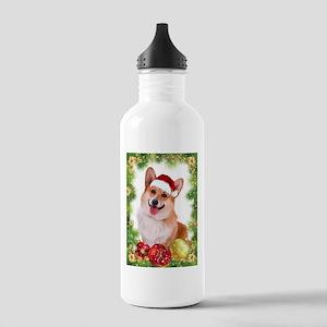 Smiling Corgi with Santa Hat Water Bottle