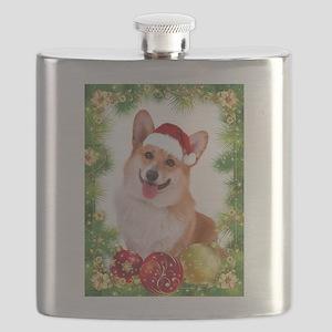 Smiling Corgi with Santa Hat Flask