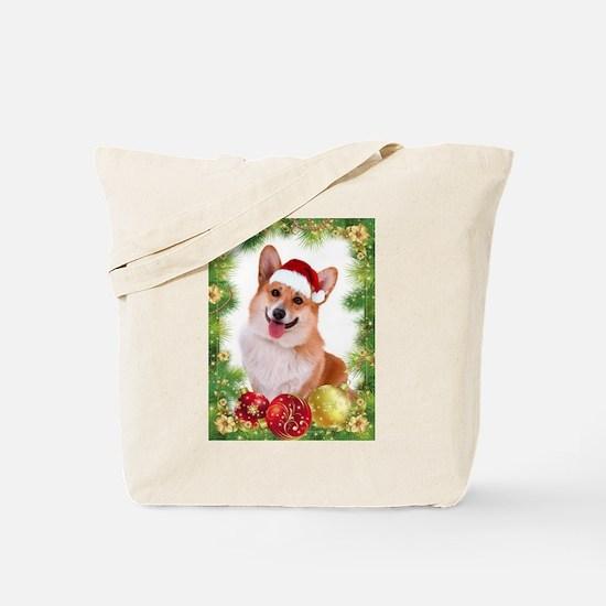 Smiling Corgi with Santa Hat Tote Bag