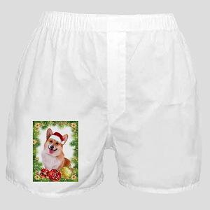 Smiling Corgi with Santa Hat Boxer Shorts