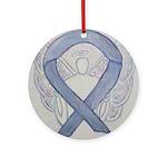 Silver Ribbon Angel Ornament (Round)