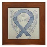 Silver Ribbon Angel Framed Tile