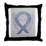 Silver Ribbon Angel Throw Pillow