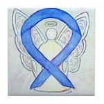 Violet Ribbon Angel Tile Coaster