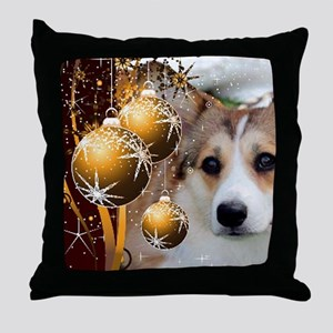 Sable Holiday Corgi Throw Pillow