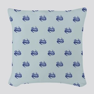 Blue Crabs Woven Throw Pillow