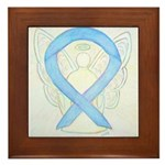 Light Blue Ribbon Angel Framed Tile
