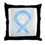 Light Blue Ribbon Angel Throw Pillow