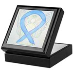 Light Blue Ribbon Angel Keepsake Box