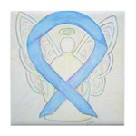 Light Blue Ribbon Angel Tile Coaster