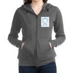 Light Blue Ribbon Angel Women's Zip Hoodie
